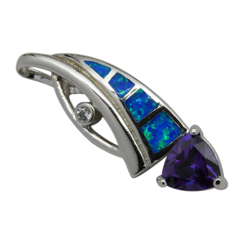 Sterling Silver Blue Lab Opal & Purple CZ Slider Pendant