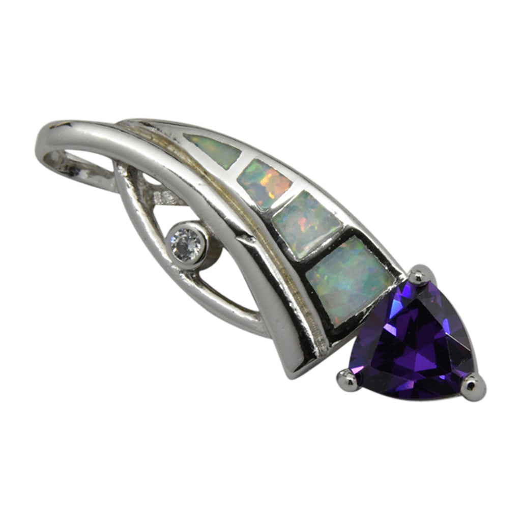 Sterling Silver White Lab Opal & Purple CZ Slider Pendant