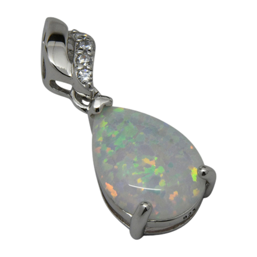 Sterling Silver White Lab Opal & CZ Tear Drop Prong Set Pendant