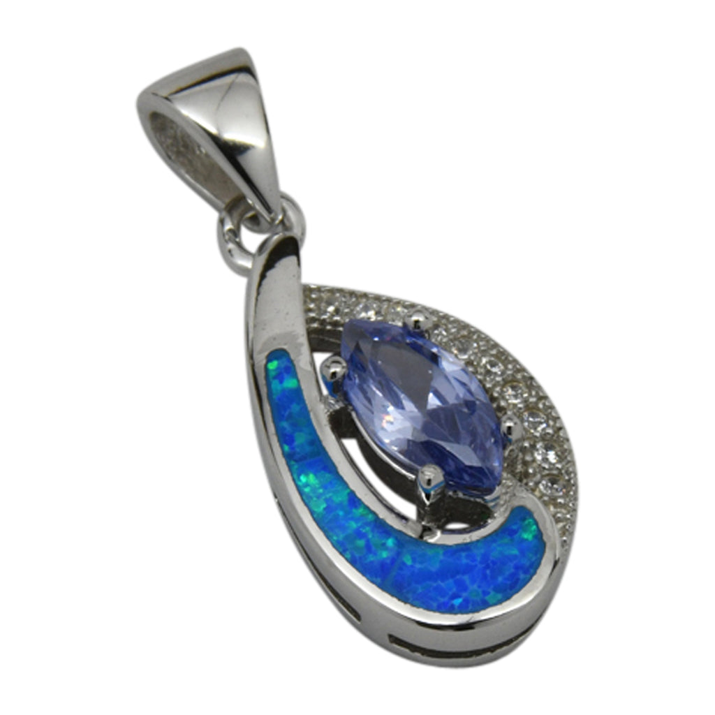 Sterling Silver Blue Lab Opal & Blue CZ Tear Drop Pendant