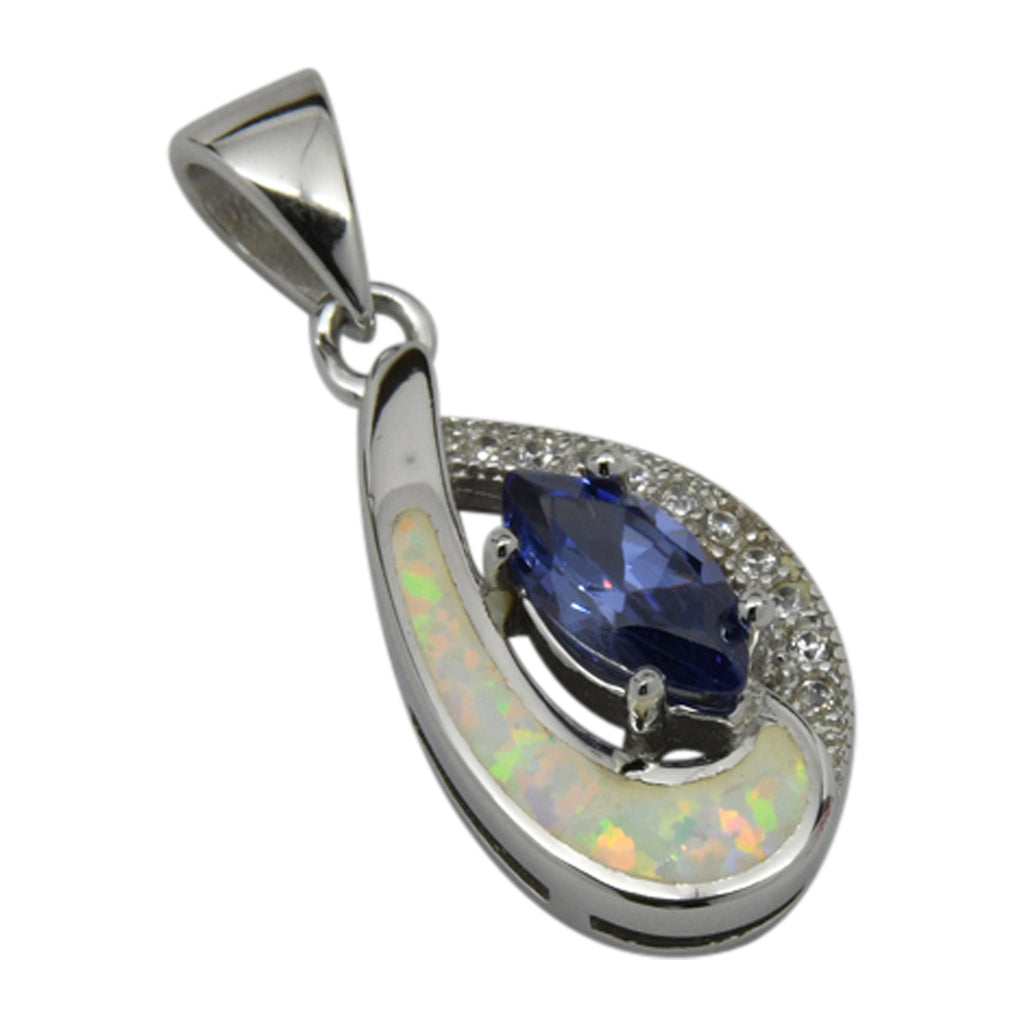 Sterling Silver White Lab Opal & Blue CZ Tear Drop Pendant