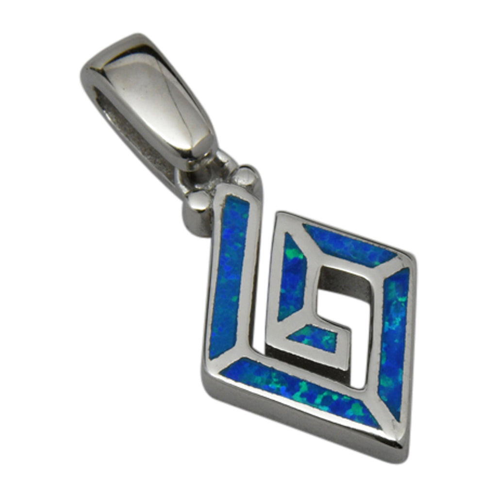 Sterling Silver Blue Lab Opal Rhombus Shape Spiral Pendant