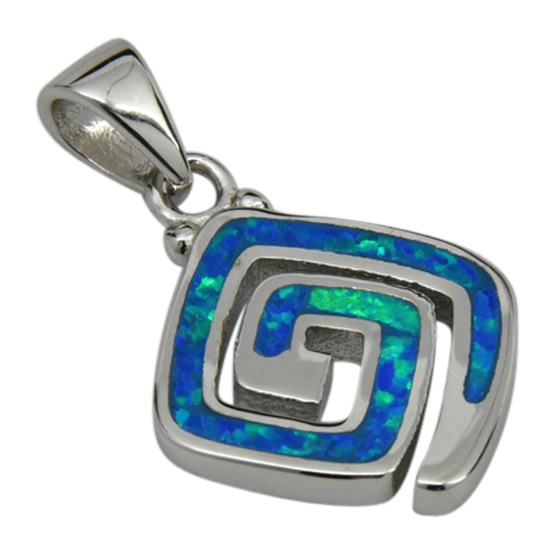 Sterling Silver Blue Lab Opal Square Shape Spiral Pendant