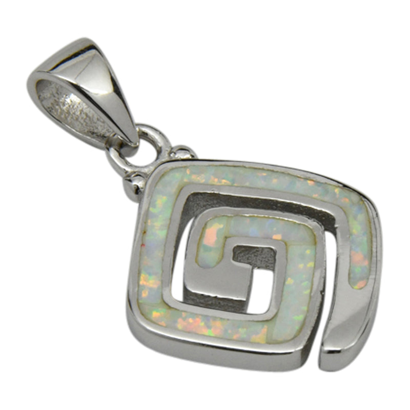 Sterling Silver White Lab Opal Square Shape Spiral Pendant