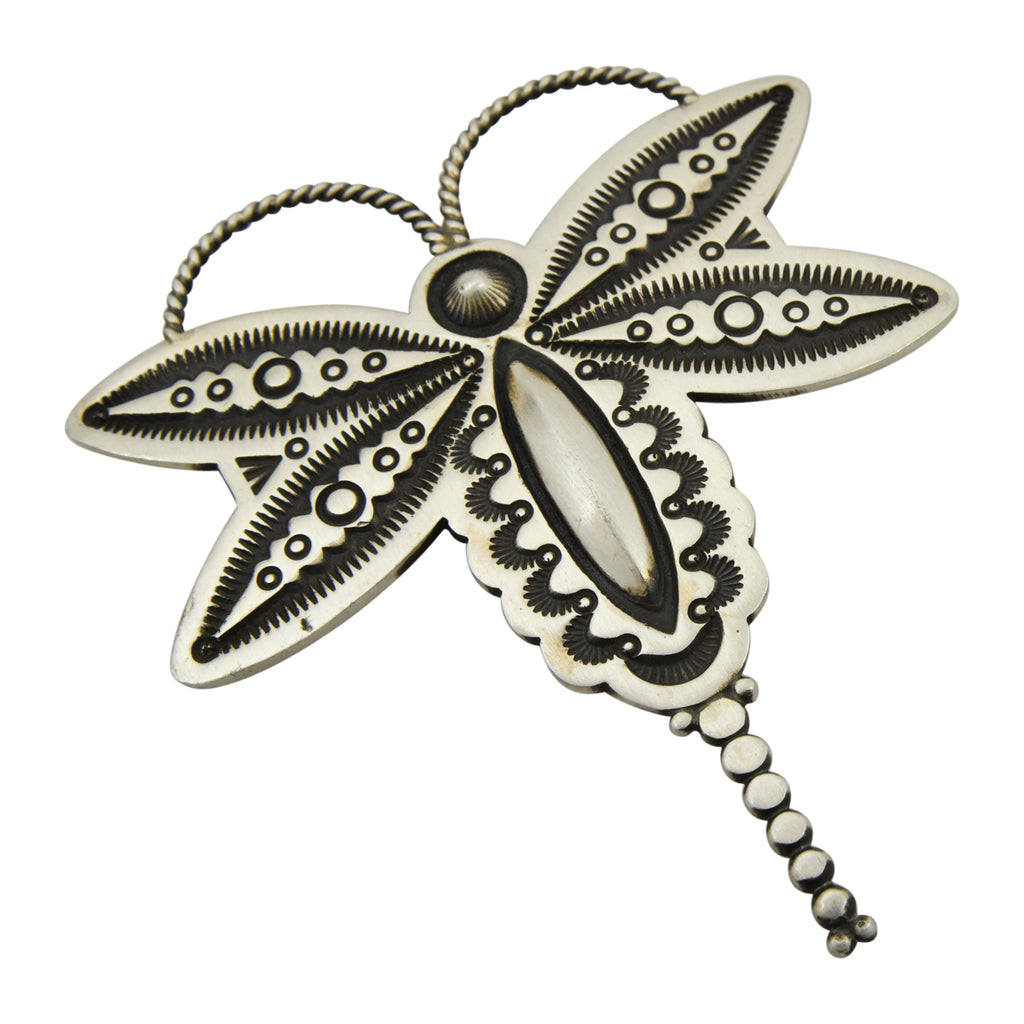 Herman Smith Sterling Silver Dragonfly Stamped Navajo Pendant / Pin