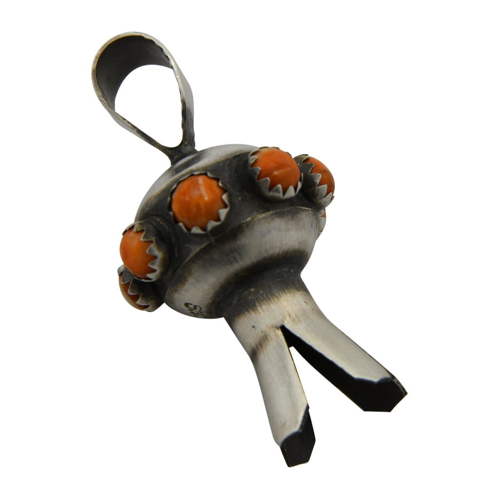 Monica Smith Sterling Silver Orange Spiny Oyster Mini Blossom Navajo Pendant
