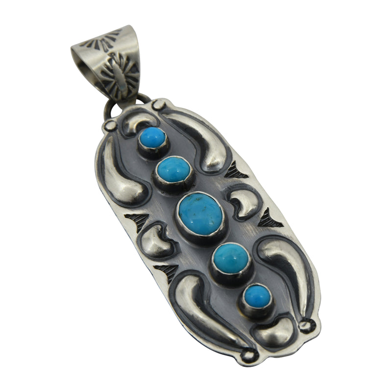 Jeff James Jr Sterling Silver Turquoise 5 Stone Repousse Navajo Pendant