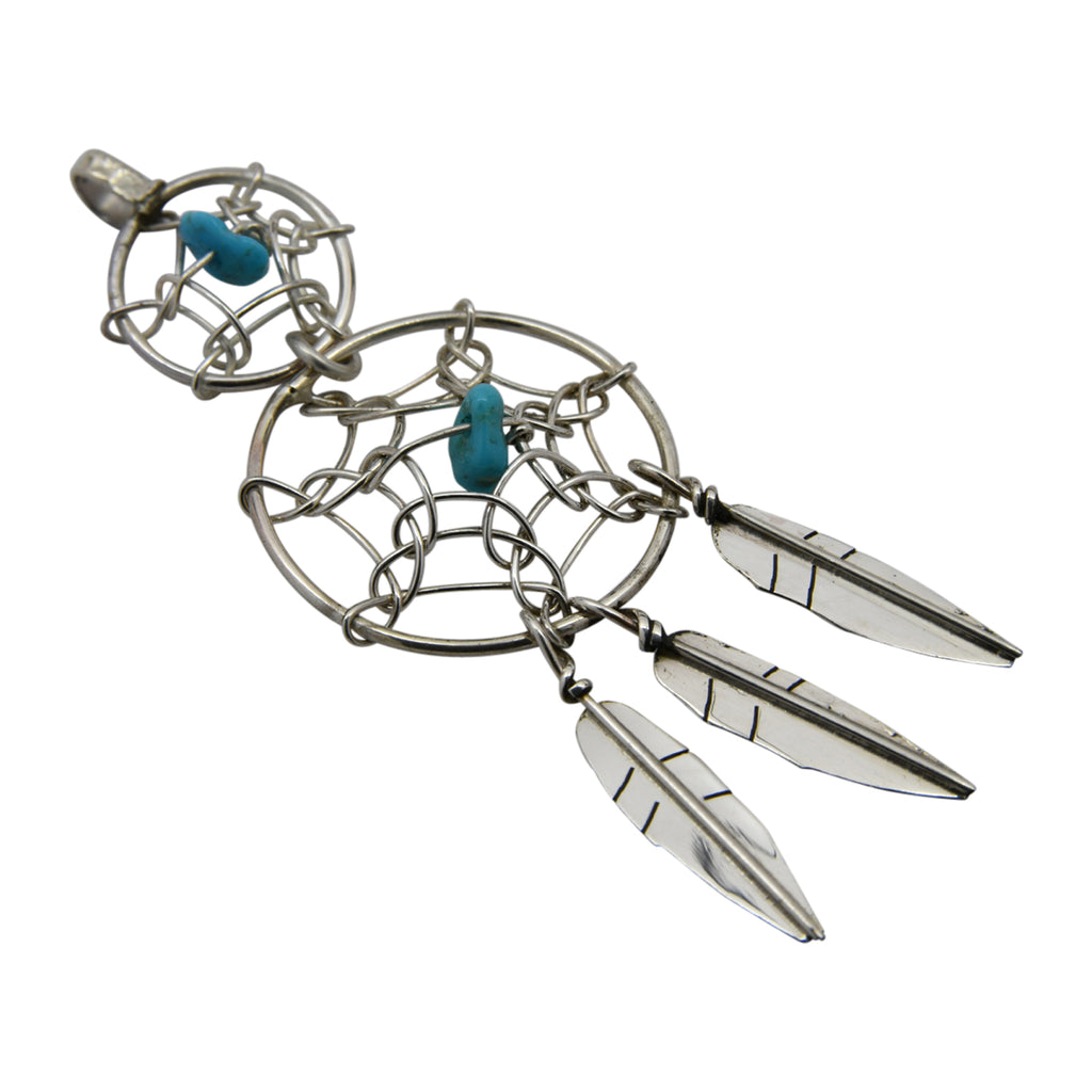Lorenzo Arviso Jr Sterling Silver Turquoise Double Dreamcatcher Navajo Pendant