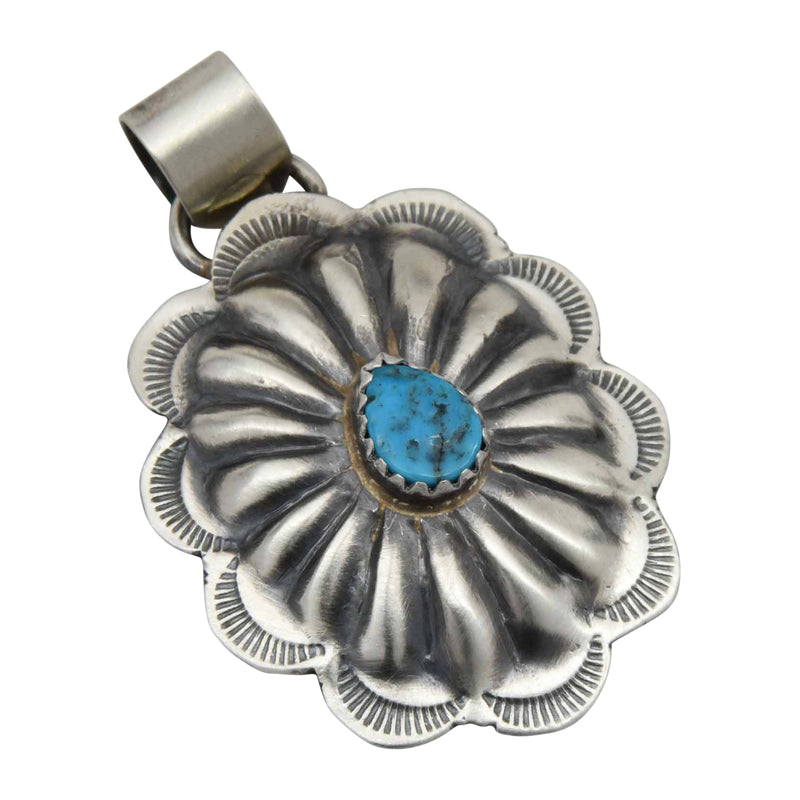 Ryan & Joan Begay Large Navajo Turquoise Spiny Oyster Oval Concho Pendant