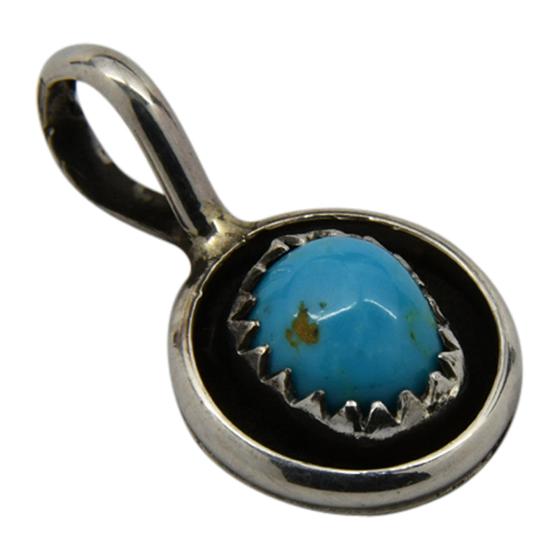 Phil & Lenora Garcia Sterling Silver Turquoise Shadow Box Navajo Pendant