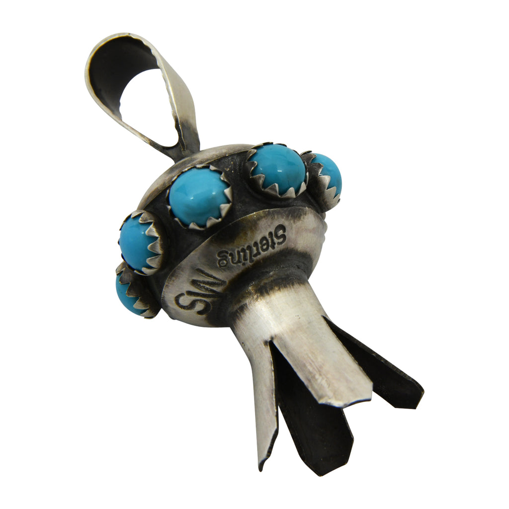 Monica Smith Sterling Silver Turquoise Mini Blossom Navajo Pendant