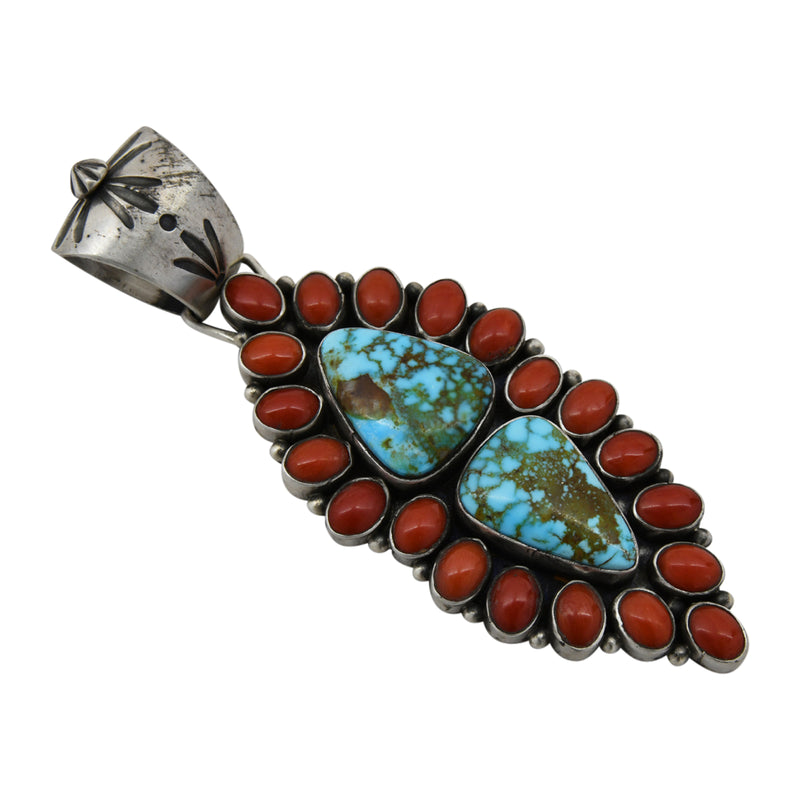 Mark Yazzie Sterling Silver 2-Stone Kingman Turquoise & Coral Cluster Navajo Pendant