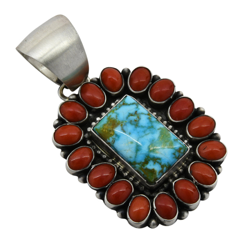 Bea Tom Sterling Silver Kingman Turquoise & Coral Square Cluster Navajo Pendant