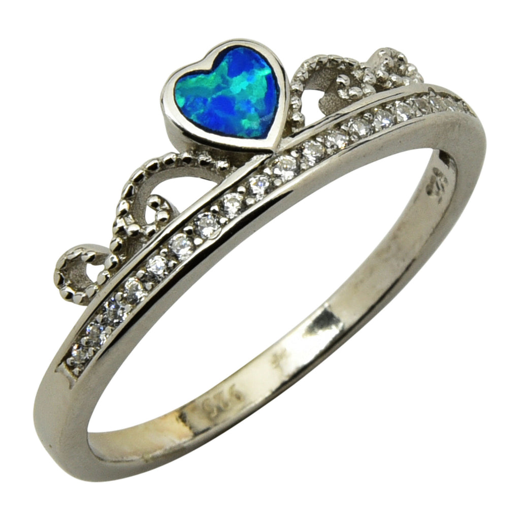 Sterling Silver Blue Lab Opal & CZ Crown Ring Size 5-9