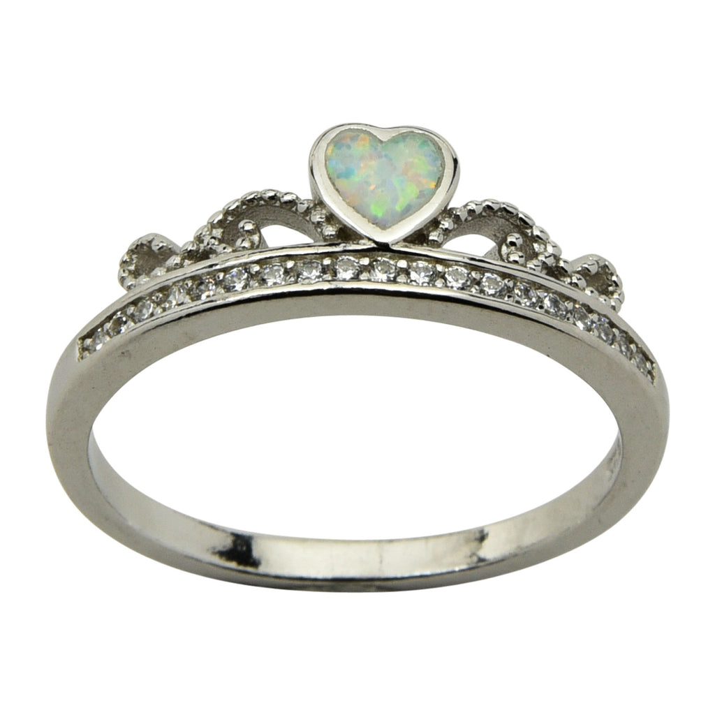 Sterling Silver White Lab Opal & CZ Crown Ring Size 5-9