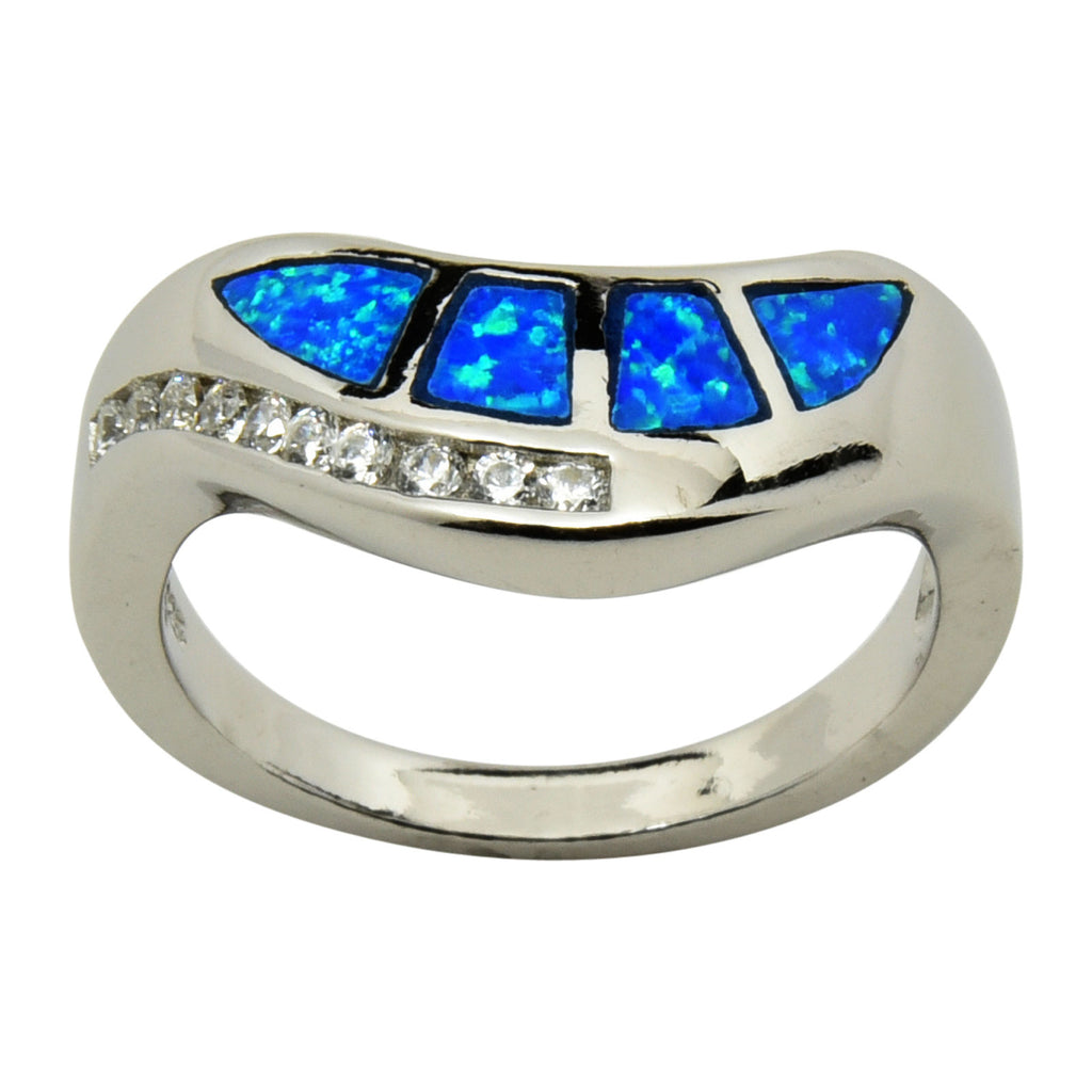 Sterling Silver Blue Lab Opal & CZ Wave Ring Size 5-9