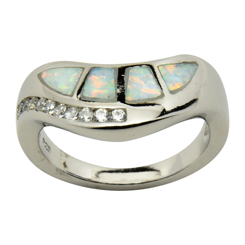 Sterling Silver White Lab Opal & CZ Wave Ring Size 5-9