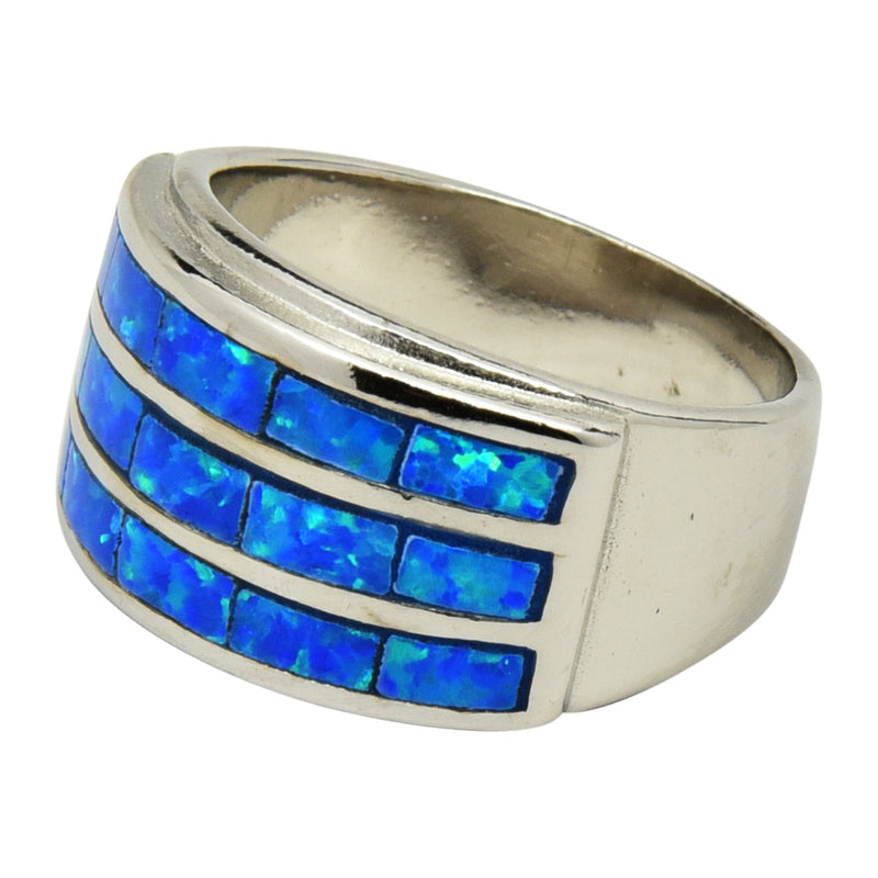 Sterling Silver Blue Lab Opal 3 Row Wide Ring Size 6-10