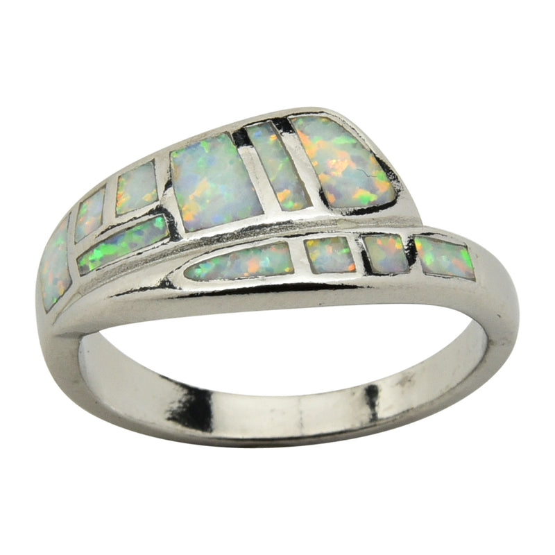 Sterling Silver White Lab Opal Inlay Ring Size 6-9