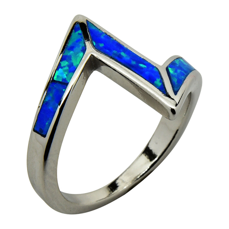 Sterling Silver Blue Lab Opal Lightning Bolt Ring Size 6-9