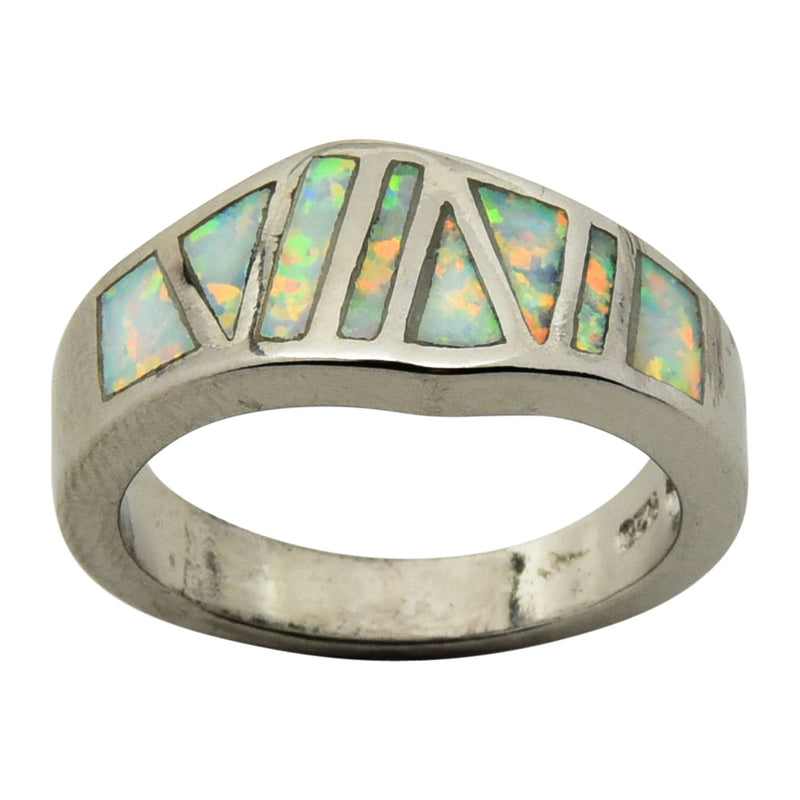 Sterling Silver White Lab Opal Inlay Ring Size 5-9