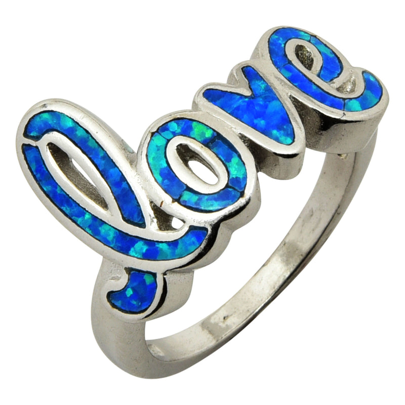 Sterling Silver Blue Lab Opal Love Ring Size 5-9