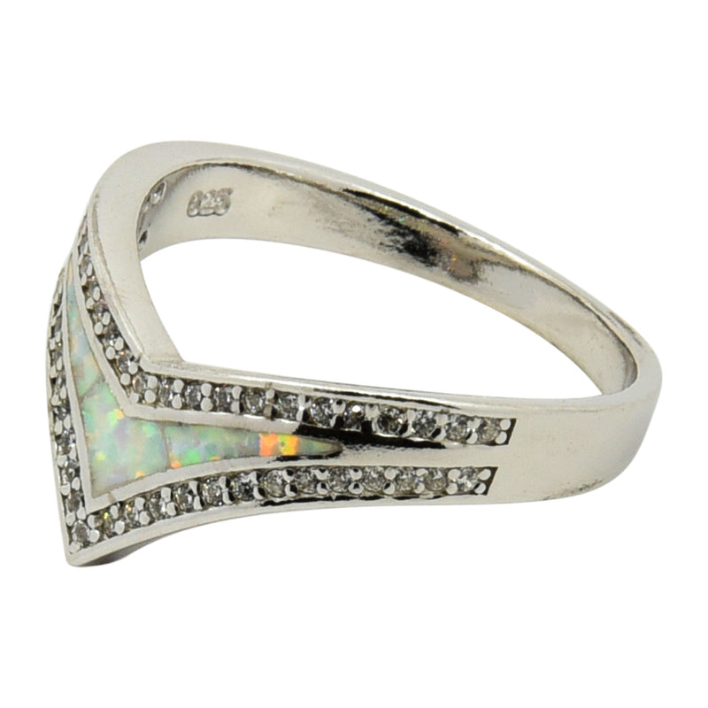 Sterling Silver White Lab Opal & CZ V-Shape Ring Size 5-9