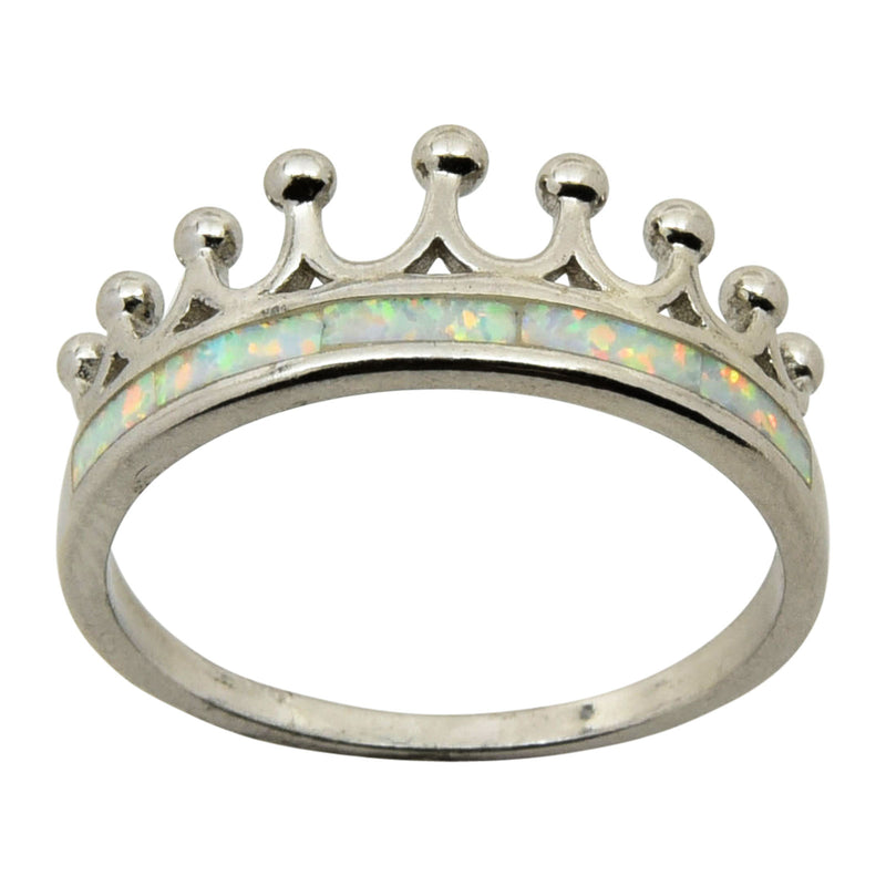 Sterling Silver White Lab Opal Crown Ring Size 5-9