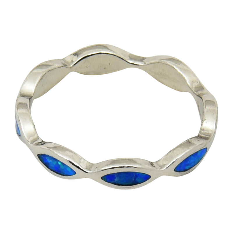 Sterling Silver Blue Lab Opal Eternity Band Ring Size 5-9