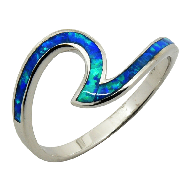 Sterling Silver Blue Lab Opal Wave Thin Ring Size 4-9