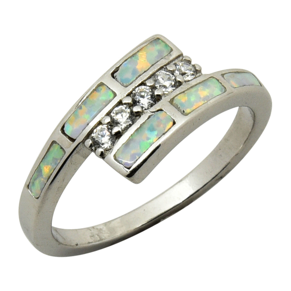 Sterling Silver White Lab Opal & CZ Ring Size 5-9