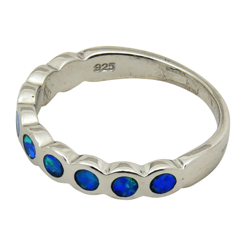 Sterling Silver Blue Lab Opal Bubble Band Ring Size 5-9
