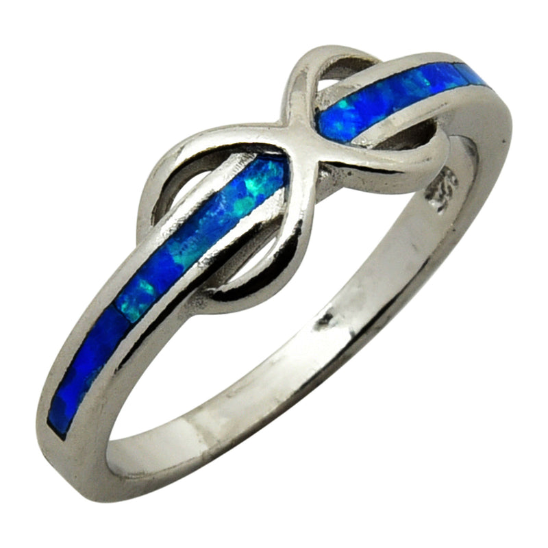 Sterling Silver Blue Lab Opal Infinity Band Ring Size 5-9