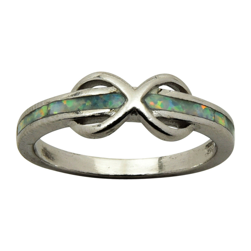 Sterling Silver White Lab Opal Infinity Band Ring Size 5-9