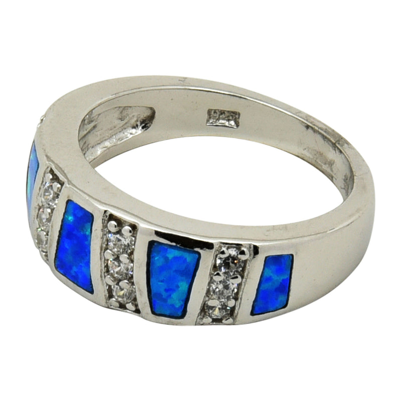 Sterling Silver Blue Lab Opal & CZ Ring Size 5-9