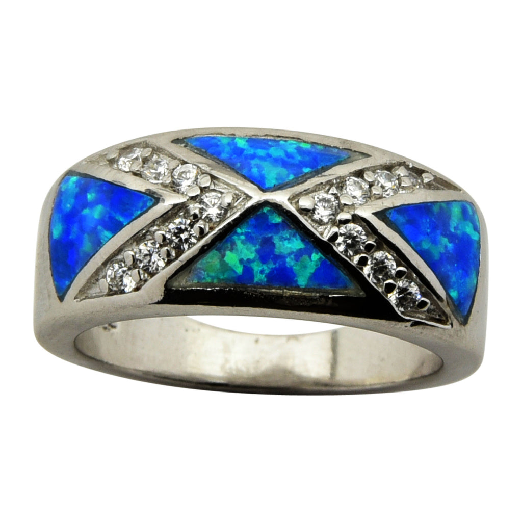Sterling Silver Blue Lab Opal X CZ Ring Size 5-9