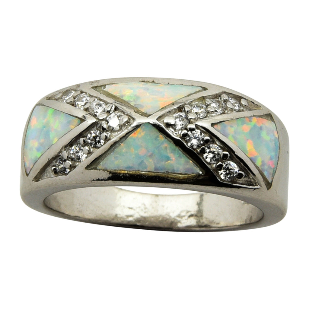 Sterling Silver White Lab Opal X CZ Ring Size 5-9