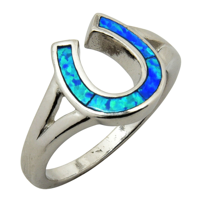 Sterling Silver Blue Lab Opal Horse Shoe Ring Size 5-9