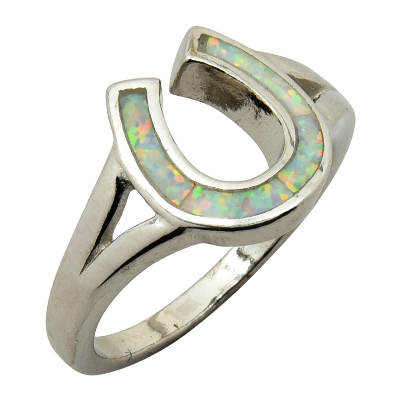 Sterling Silver White Lab Opal Horse Shoe Ring Size 5-9
