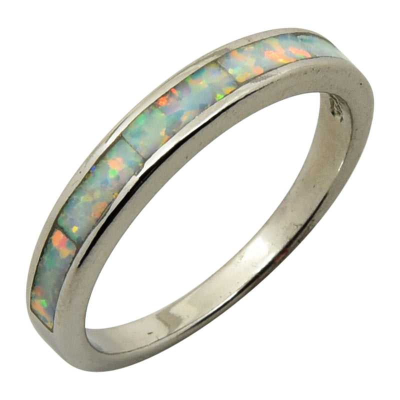 Sterling Silver White Lab Opal Band Ring Size 5-9