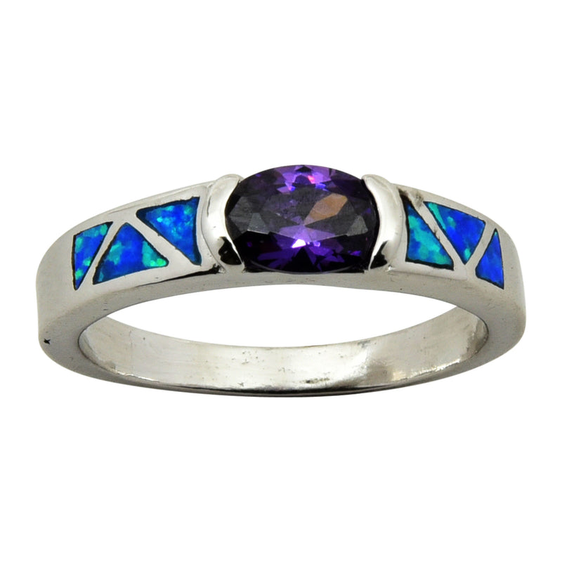 Sterling Silver Blue Lab Opal Oval Purple CZ Ring Size 5-9