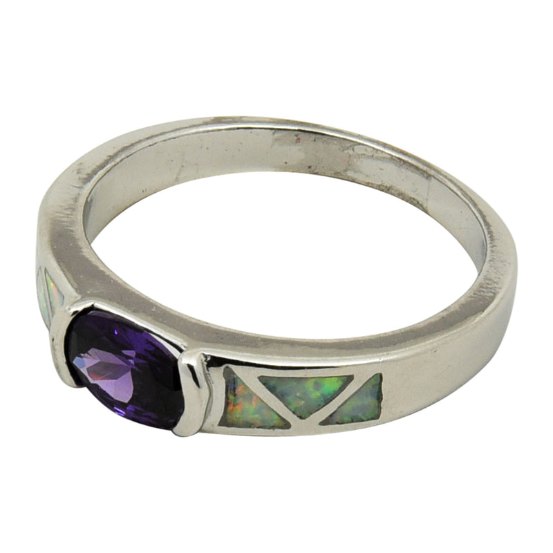 Sterling Silver White Lab Opal Oval Purple CZ Ring Size 5-9