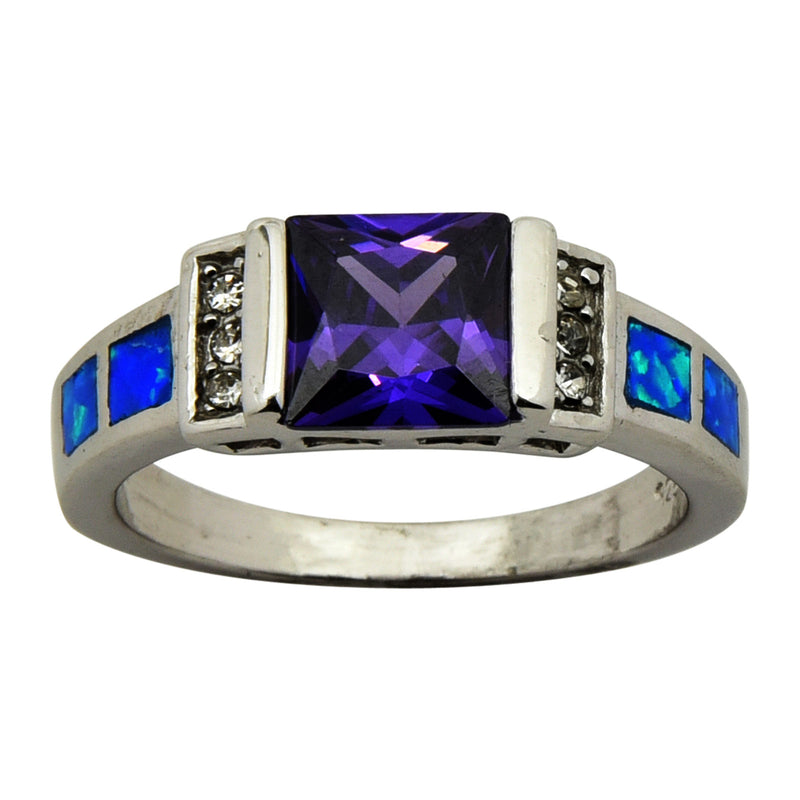Sterling Silver Blue Lab Opal Square Purple CZ Ring Size 5-9