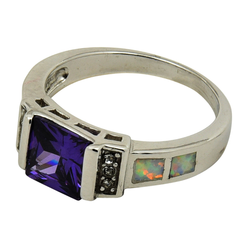 Sterling Silver White Lab Opal Square Purple CZ Ring Size 5-9