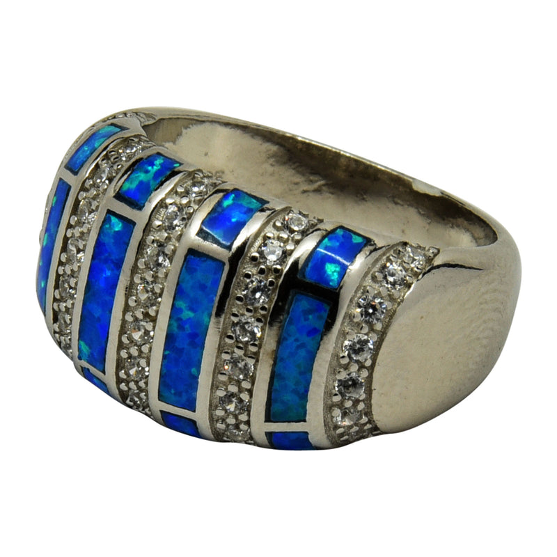 Sterling Silver Blue Lab Opal & CZ Domed Ring Size 6-10