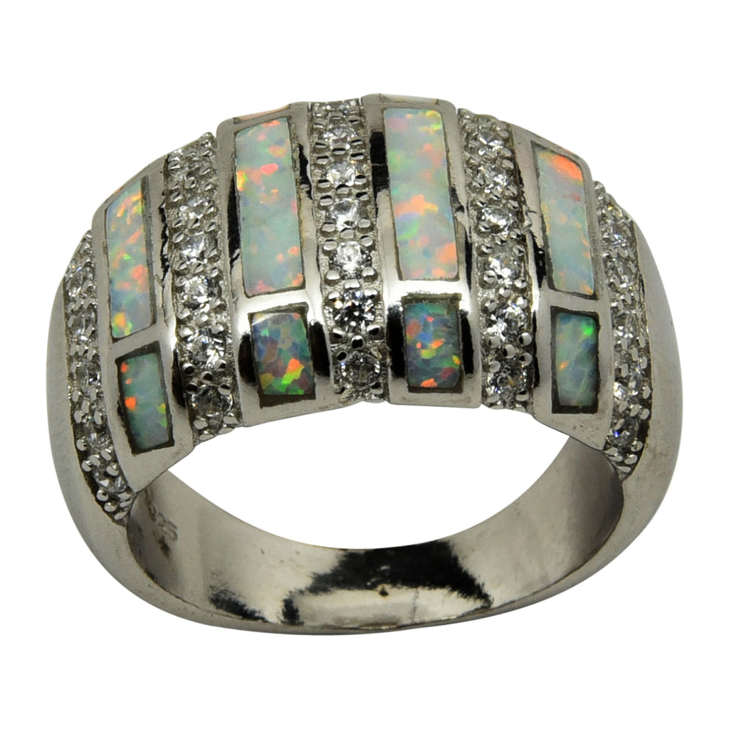Sterling Silver White Lab Opal & CZ Domed Ring Size 6-10