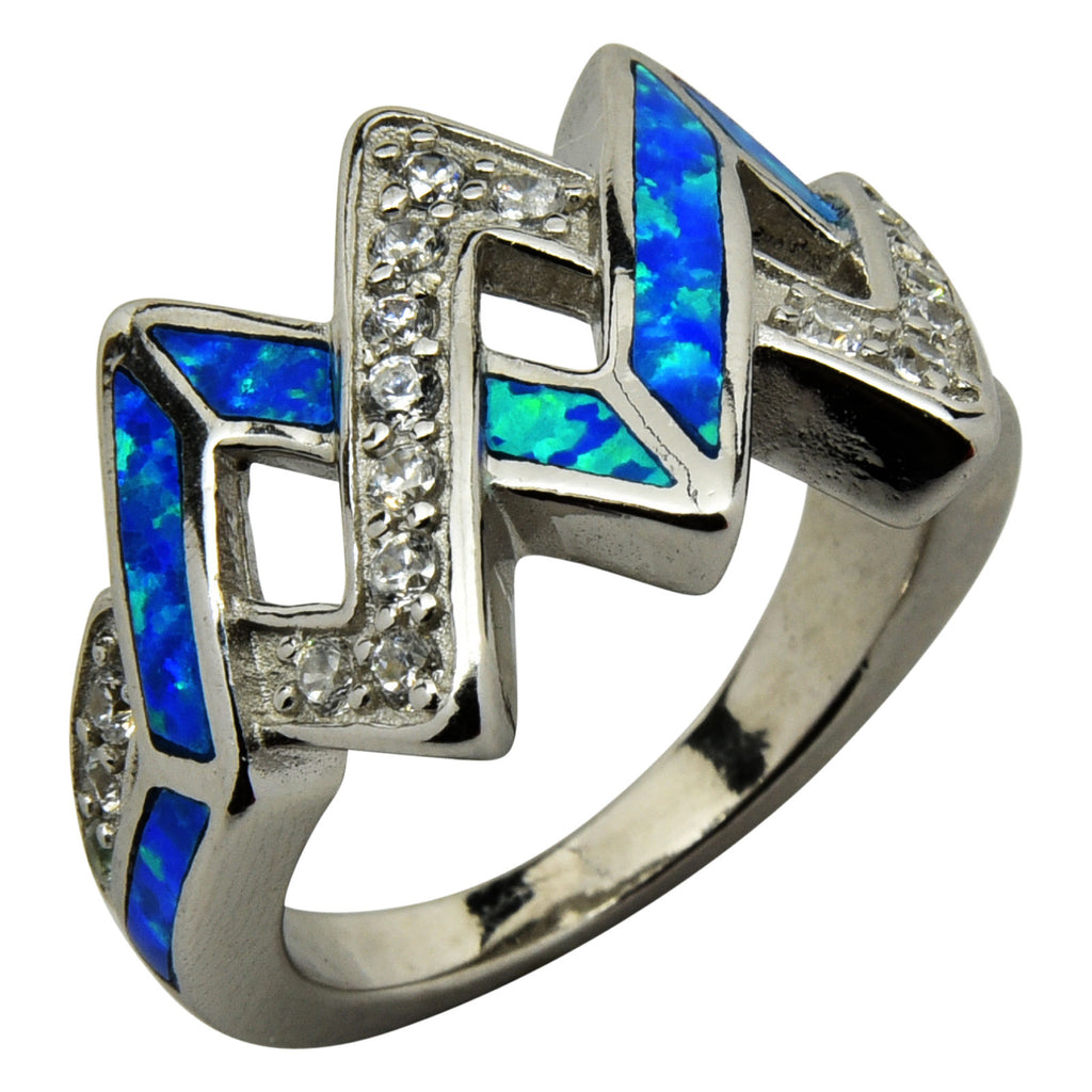 Sterling Silver Blue Lab Opal & CZ Criss Cross Ring Size 6-9