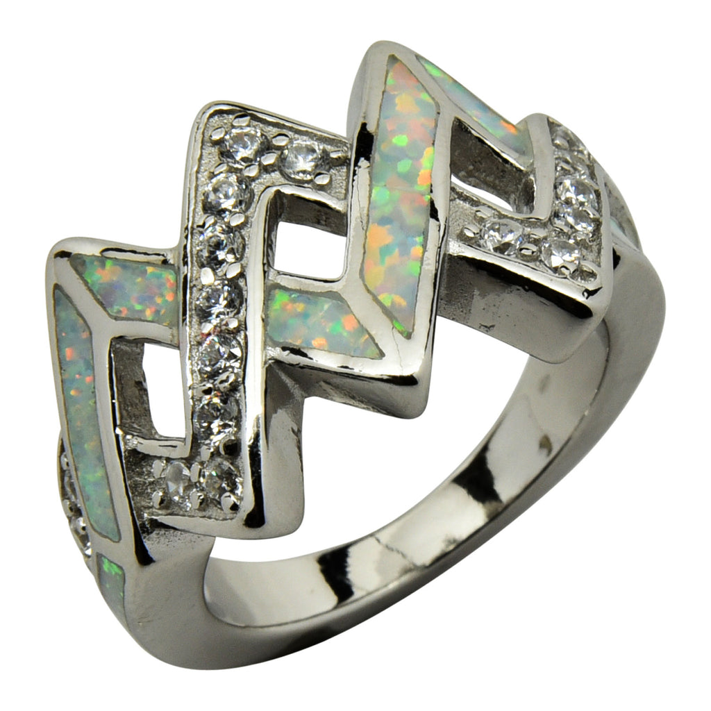 Sterling Silver White Lab Opal & CZ Criss Cross Ring Size 6-9