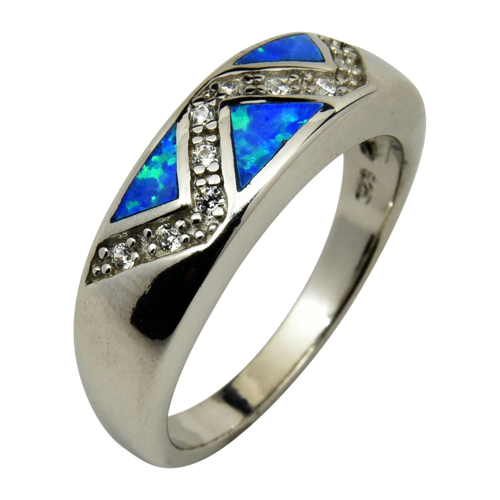 Sterling Silver Blue Lab Opal & CZ Zig Zag Ring Size 6-9