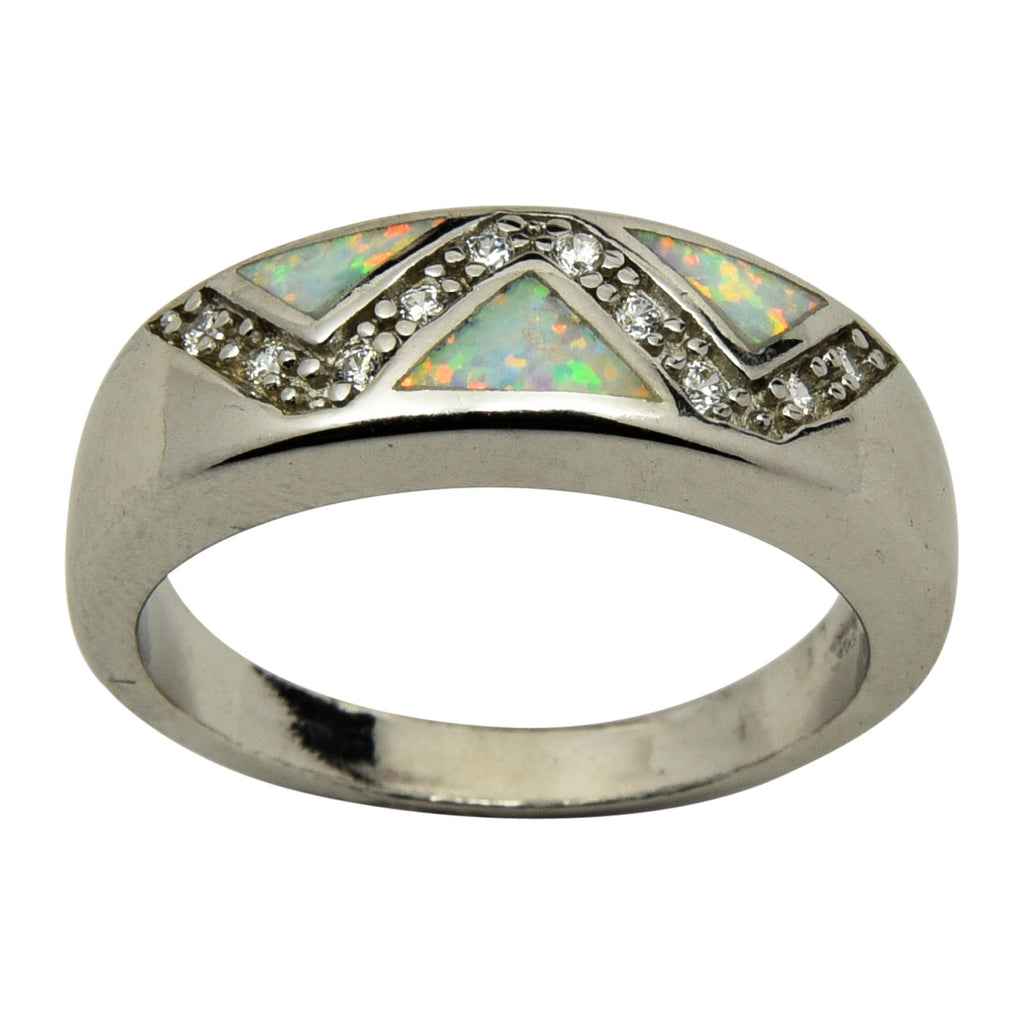 Sterling Silver White Lab Opal & CZ Zig Zag Ring Size 6-9